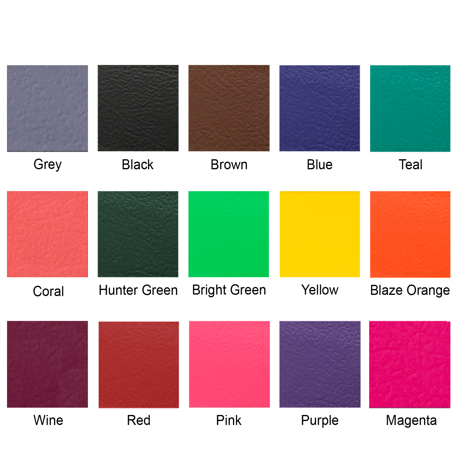 Waterproof color swatches