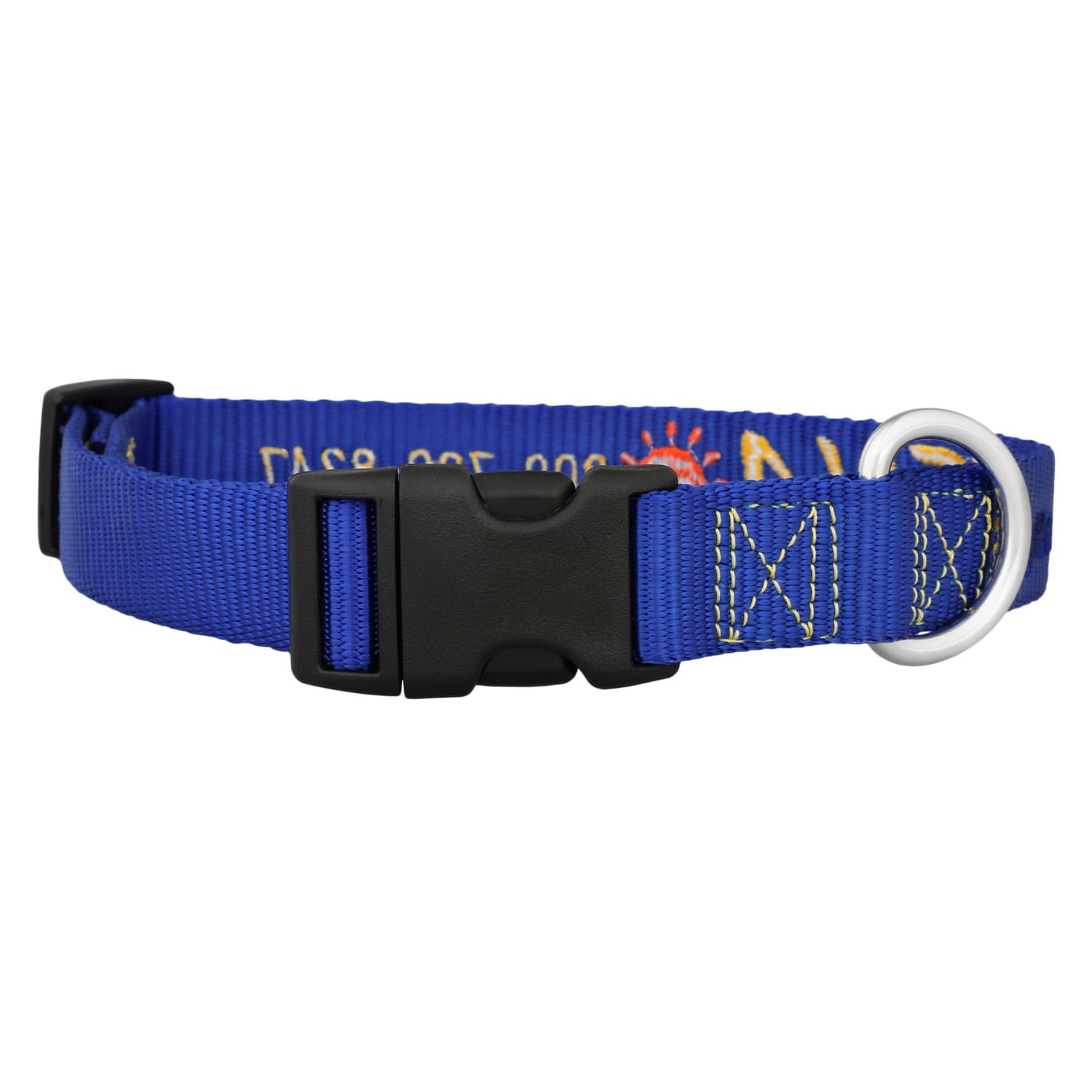 Sunshine Embroidered Dog Collar Blue Back