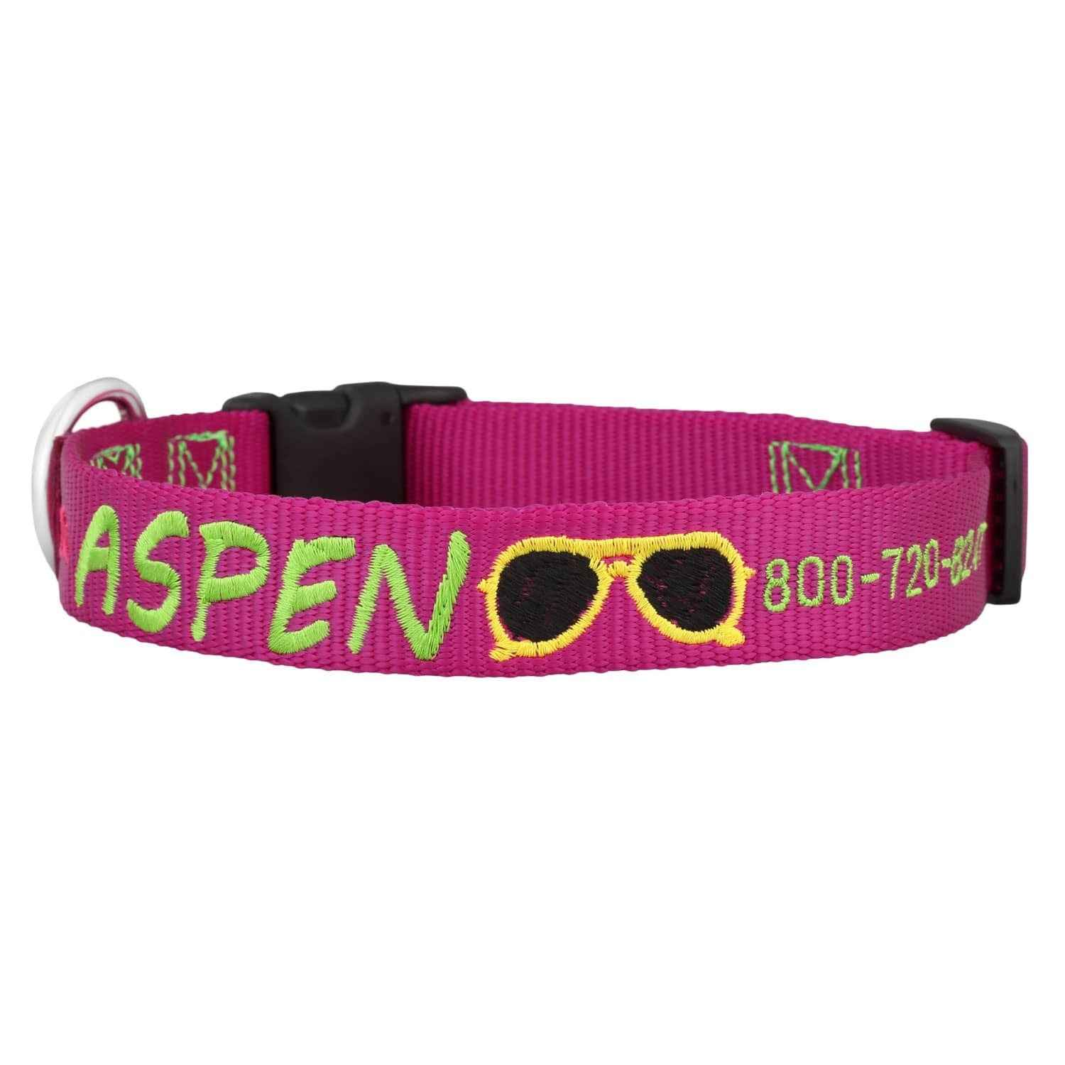Sunshine Embroidered Dog Collar Raspberry with Lime Green - Sunglasses