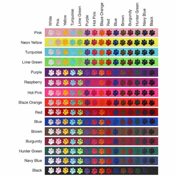 Harness Nylon Webbing Thread Color Swatches
