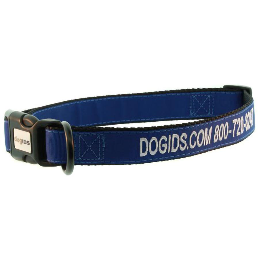 Embroidered Solid Color Dog Collar - Navy Outside Ribbon, Black Inside Nylon, White Embroidery Thread