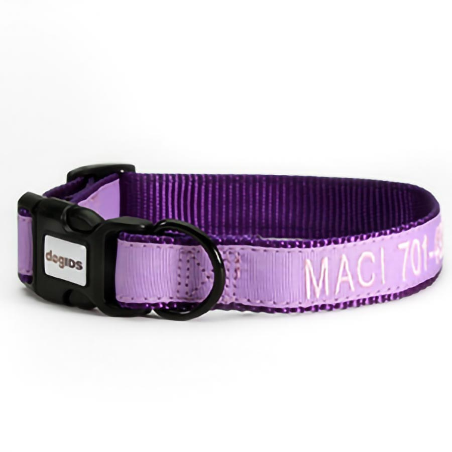 Embroidered Solid Color Dog Collar - Light Purple Outside Ribbon, Purple Inside Nylon, Light Pink Embroidery Thread