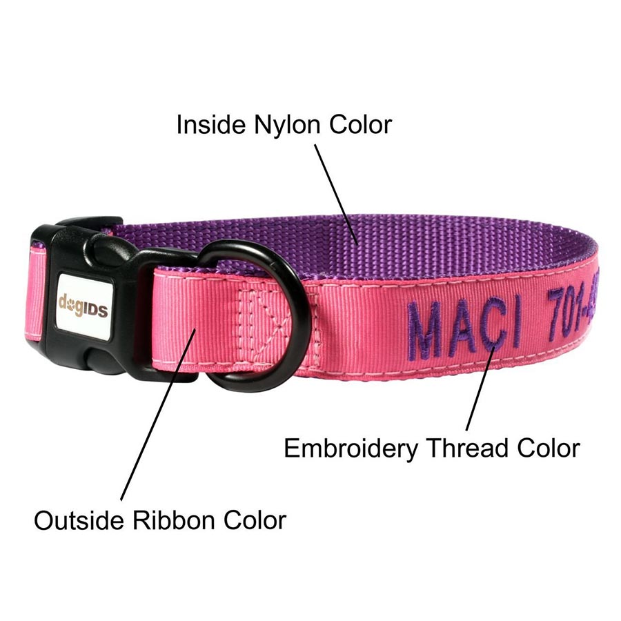 Embroidered Solid Color Dog Collar - Pink Outside Ribbon, Purple Inside Nylon, Purple Embroidery Thread