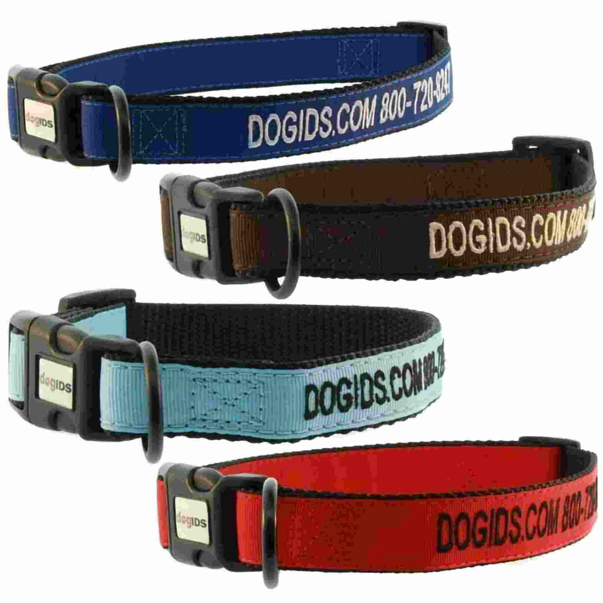 Embroidered Solid Color Dog Collar