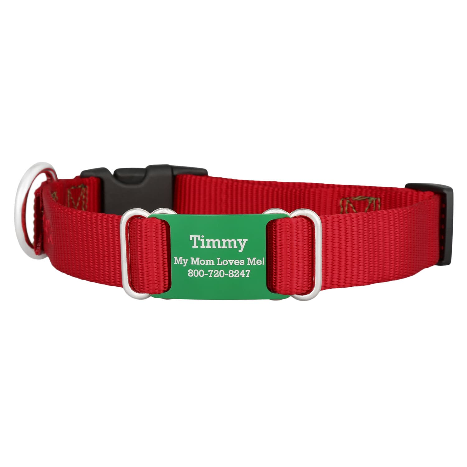 Holiday Nylon ScruffTag Personalized Dog Collars - Red with Green Plate