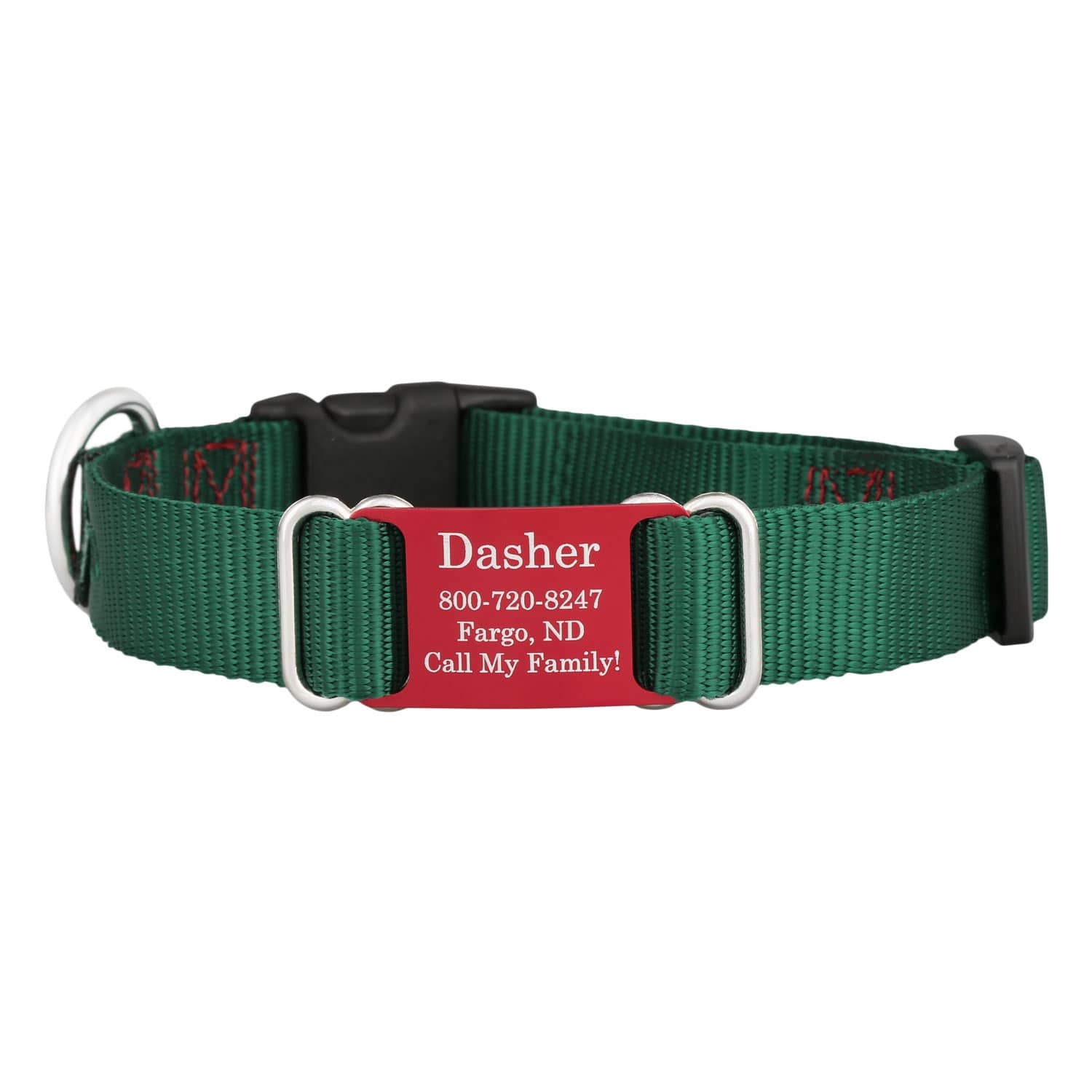Holiday Nylon ScruffTag Personalized Dog Collars Green with Red Plate