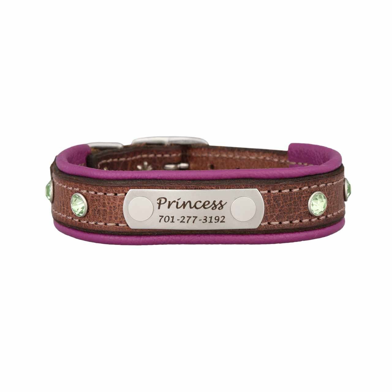 Custom Rhinestone Leather Small Dog Collar
