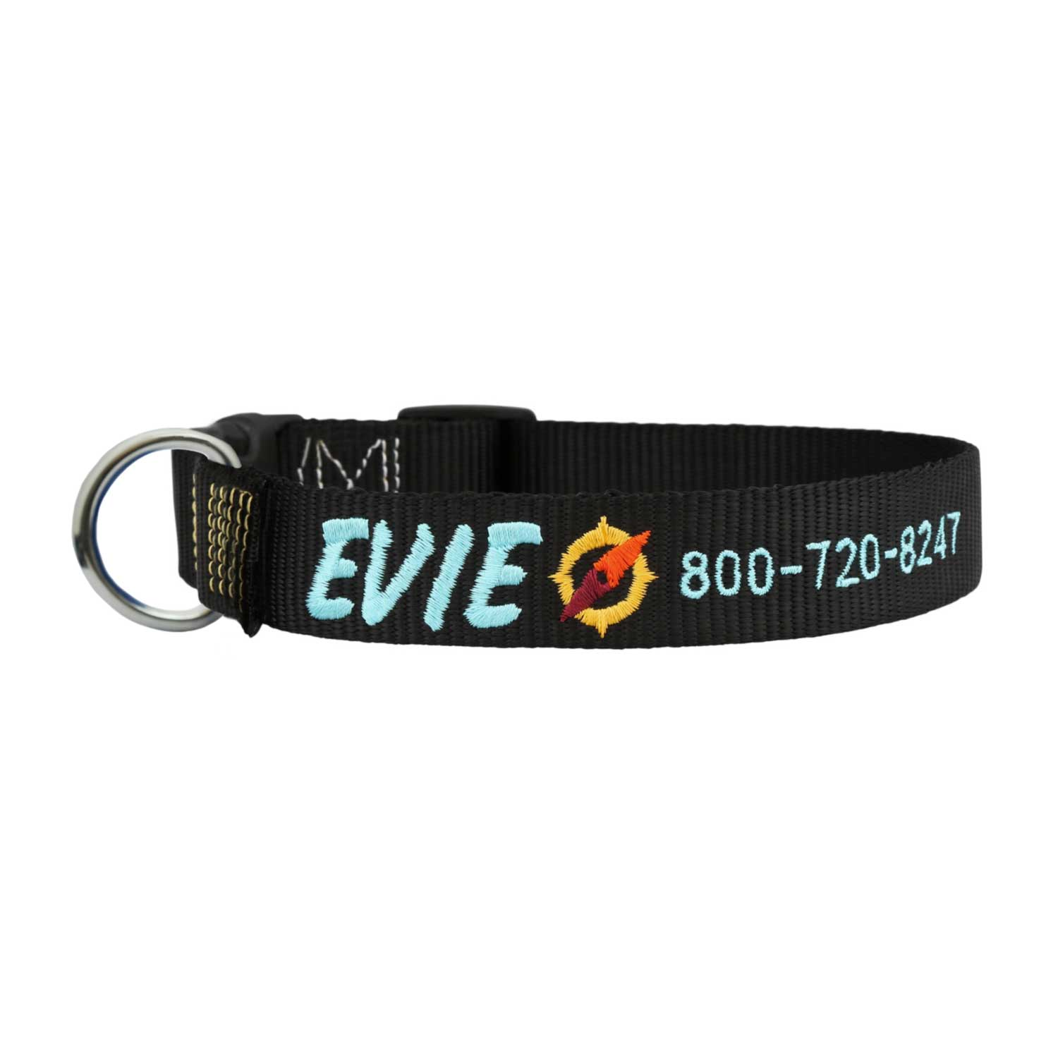 Signature Adventure Embroidered Dog Collar Black