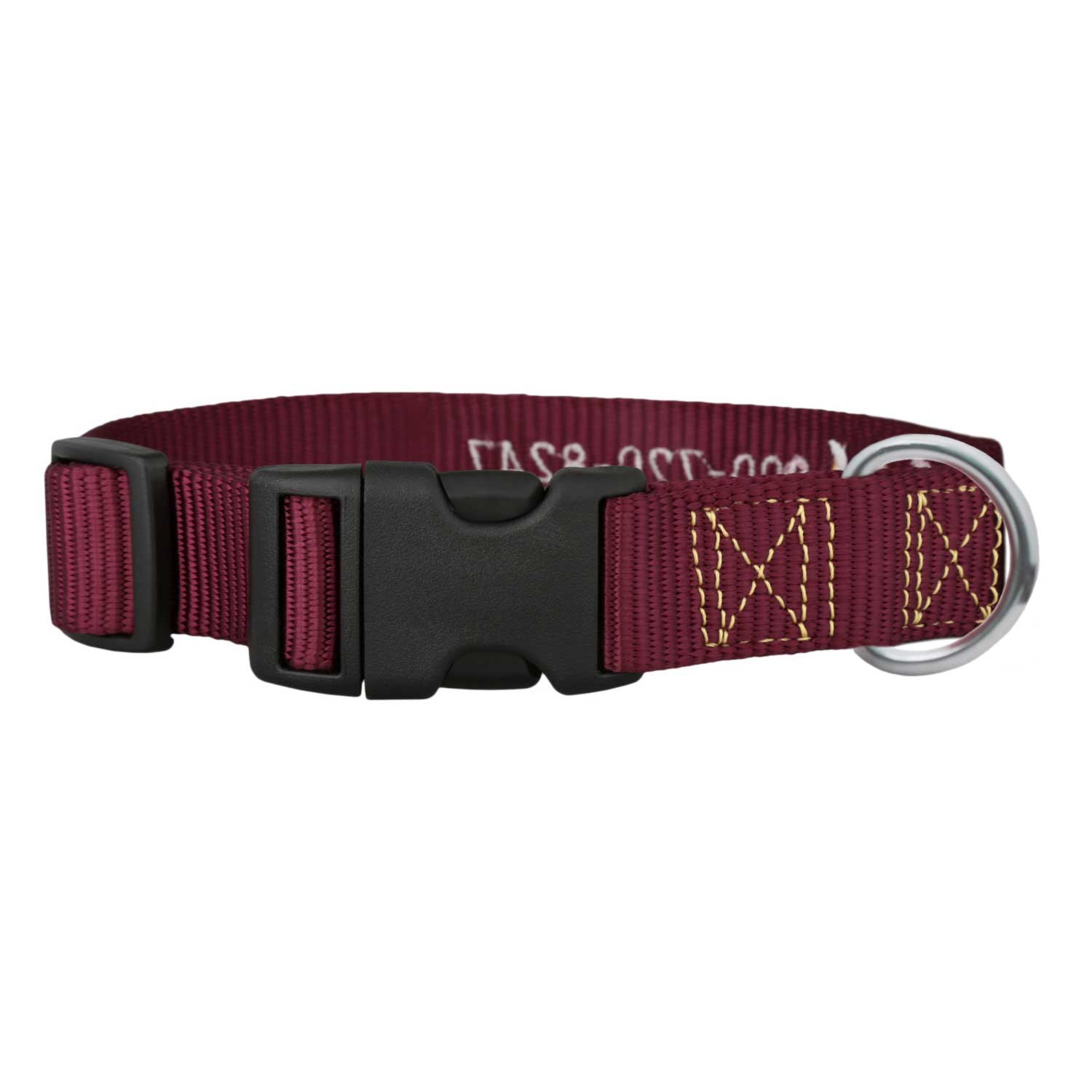 Signature Adventure Embroidered Dog Collar Burgundy Back