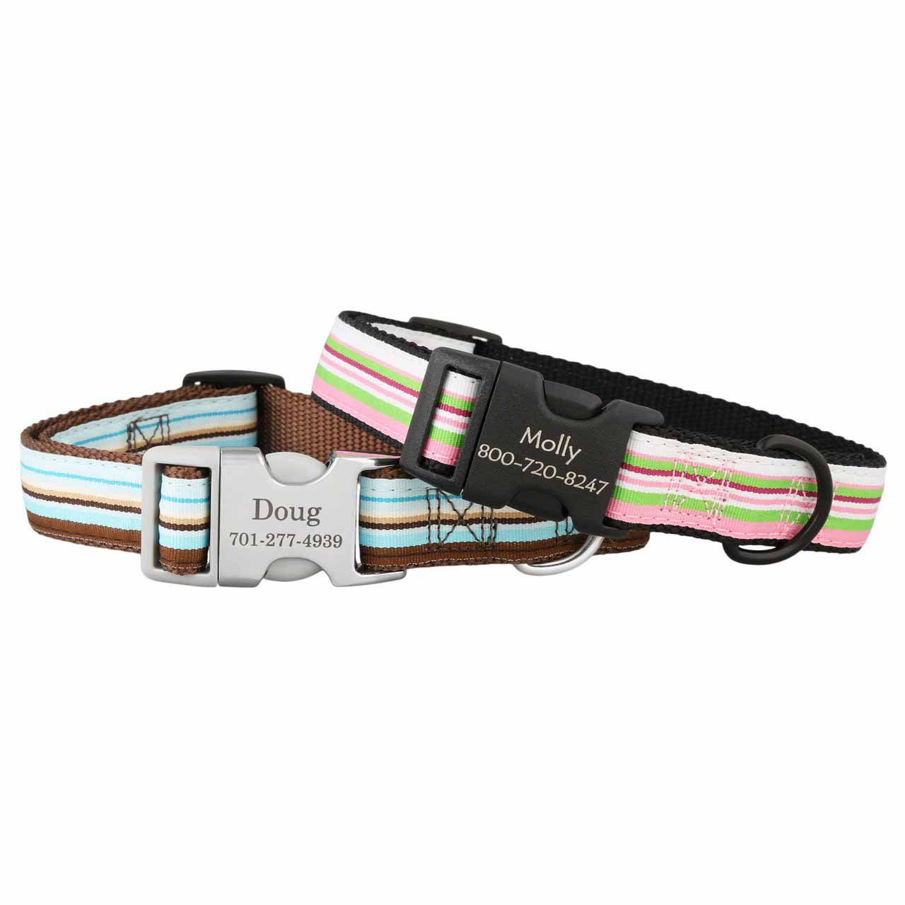 Striped Ribbon Personalized Buckle Collars