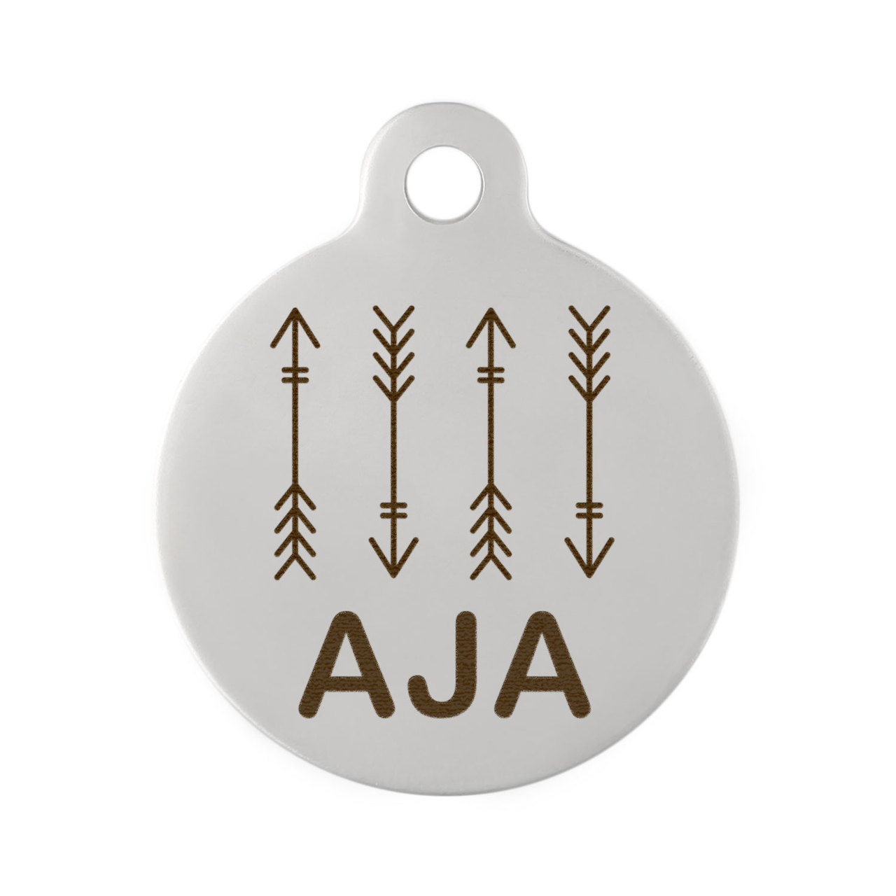 Arrow Design Dog Tag - Thin Design on Stainless Steel