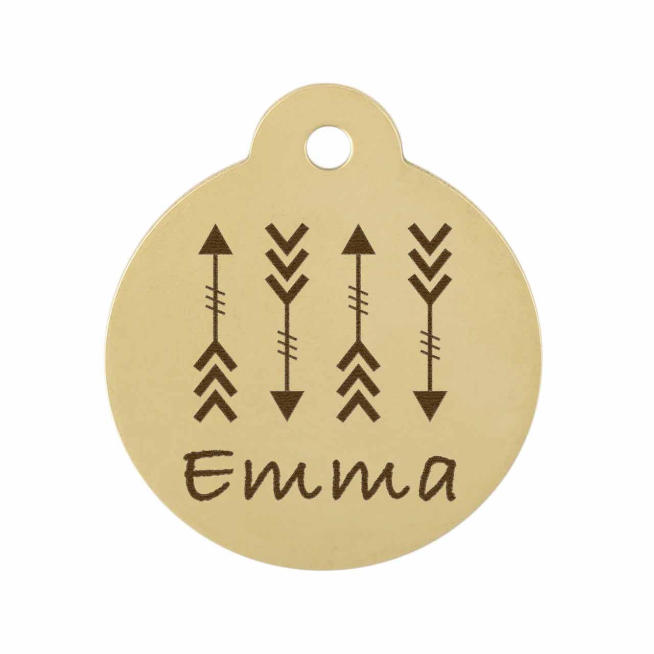 Arrow Design Dog Tag -  Bold Design on Brass