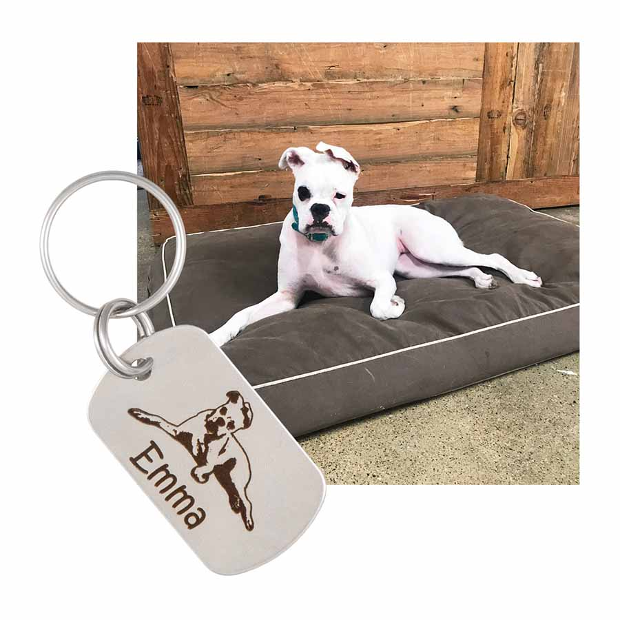 Custom Pet Photo Engraved Keychain - Horizontal Option with dog photo