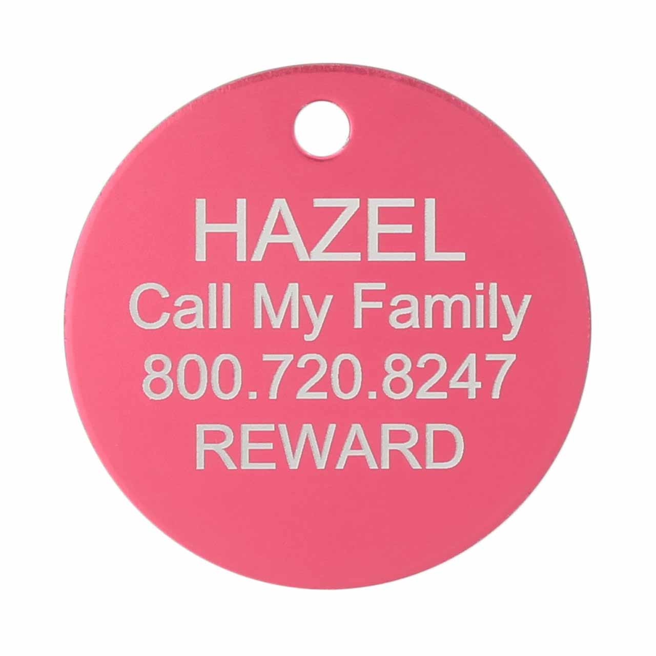 Large Colorful Dog ID Tag Pink