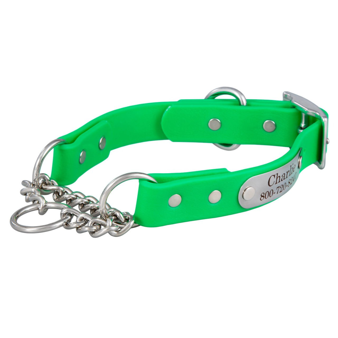 Waterproof Chain Martingale Collar with Engraved Nameplate Bright Green
