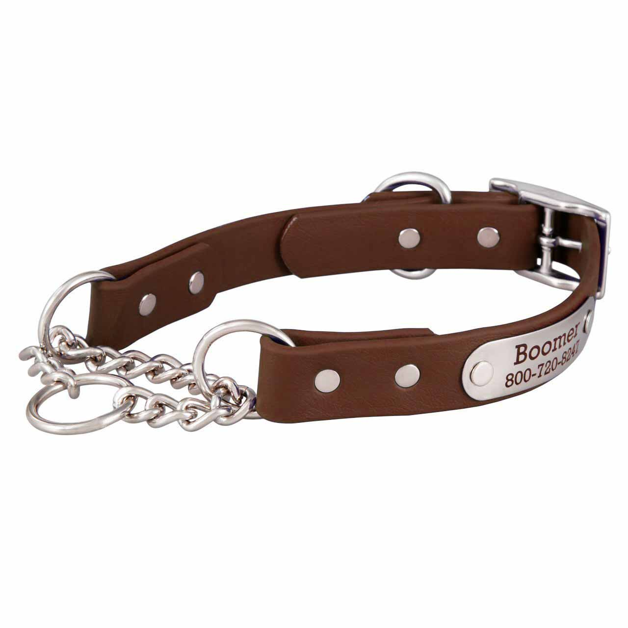 Waterproof Chain Martingale Collar with Engraved Nameplate Purple Brown