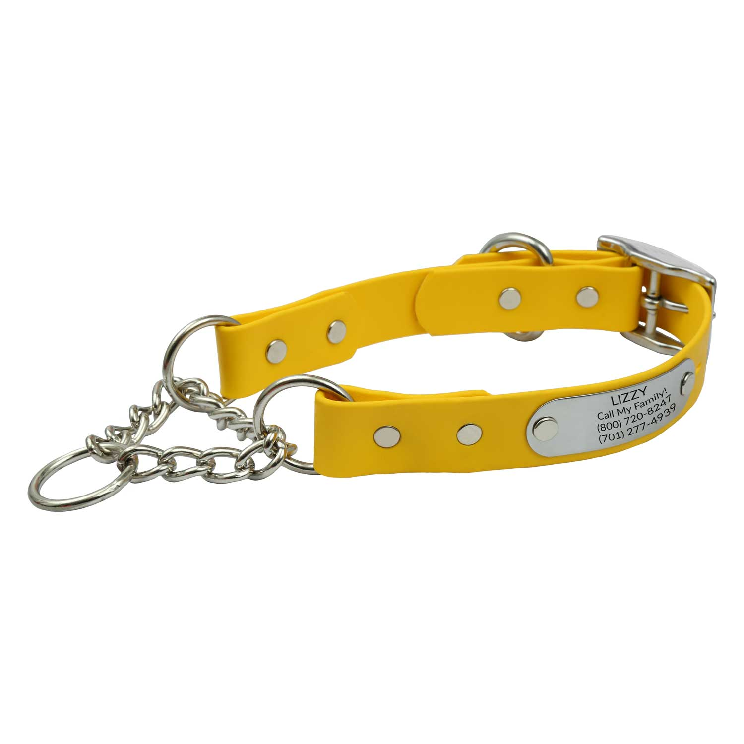 Waterproof Chain Martingale Collar with Engraved Nameplate Yellow