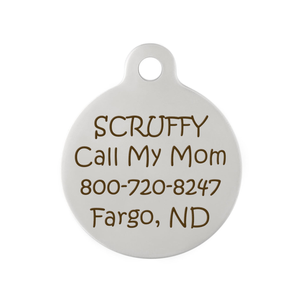 feather design round dog tag engraving on back