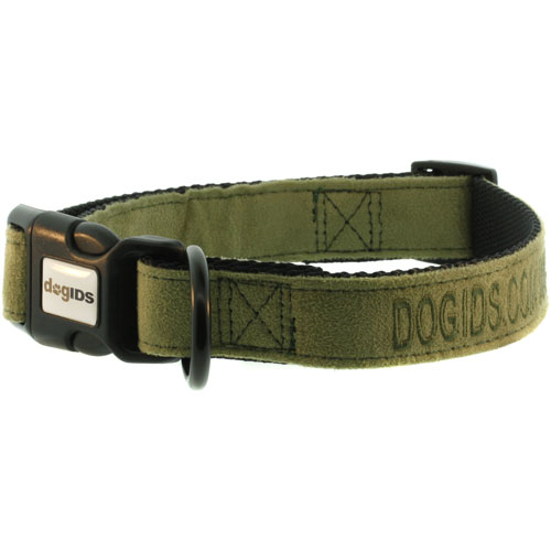 Embroidered Suede Personalized Dog Collar Green