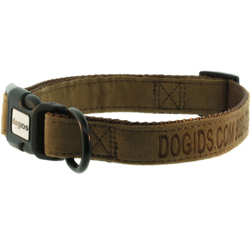 Embroidered Suede Personalized Dog Collar Brown