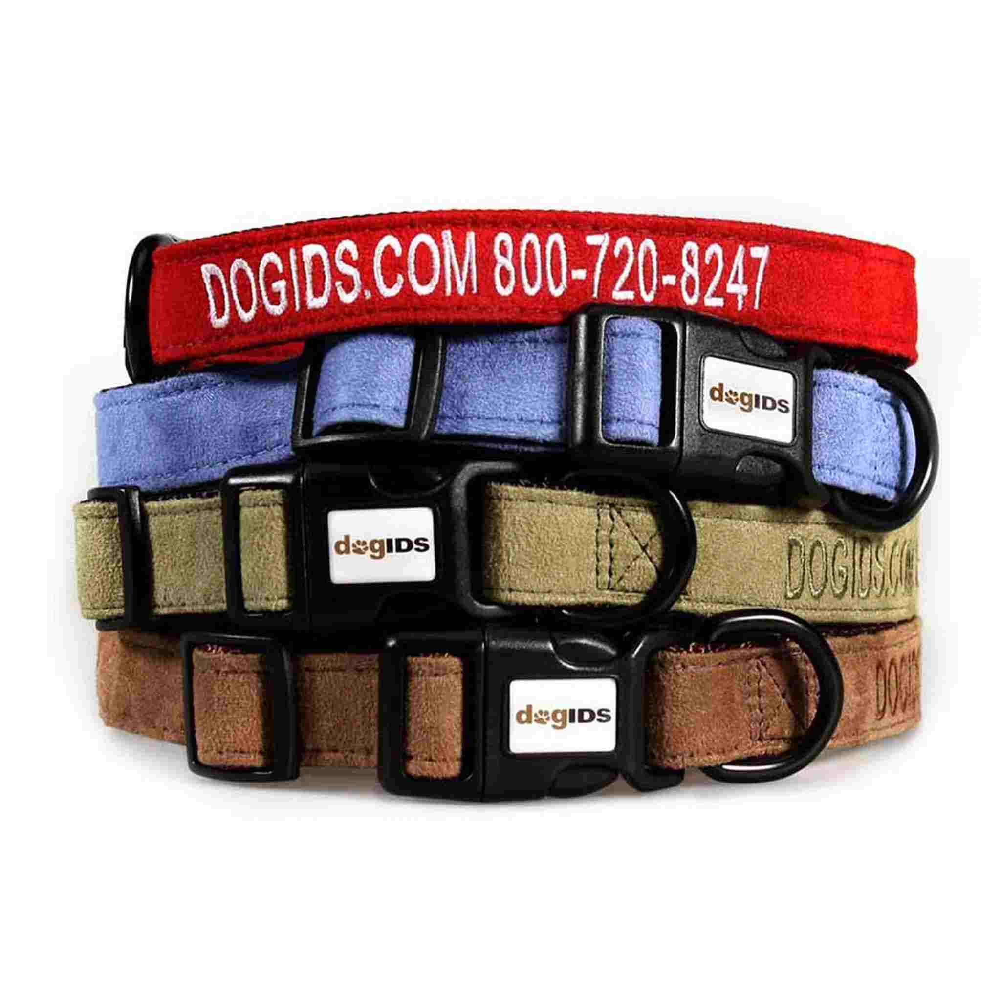 woven dog collars stacked with names