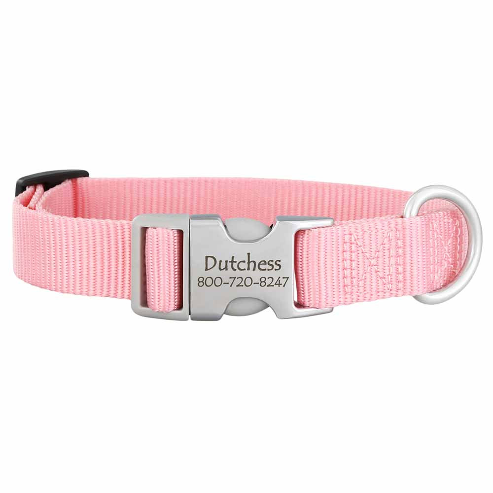 Personalized Buckle Nylon Dog Collar Pink Hybrid Buckle