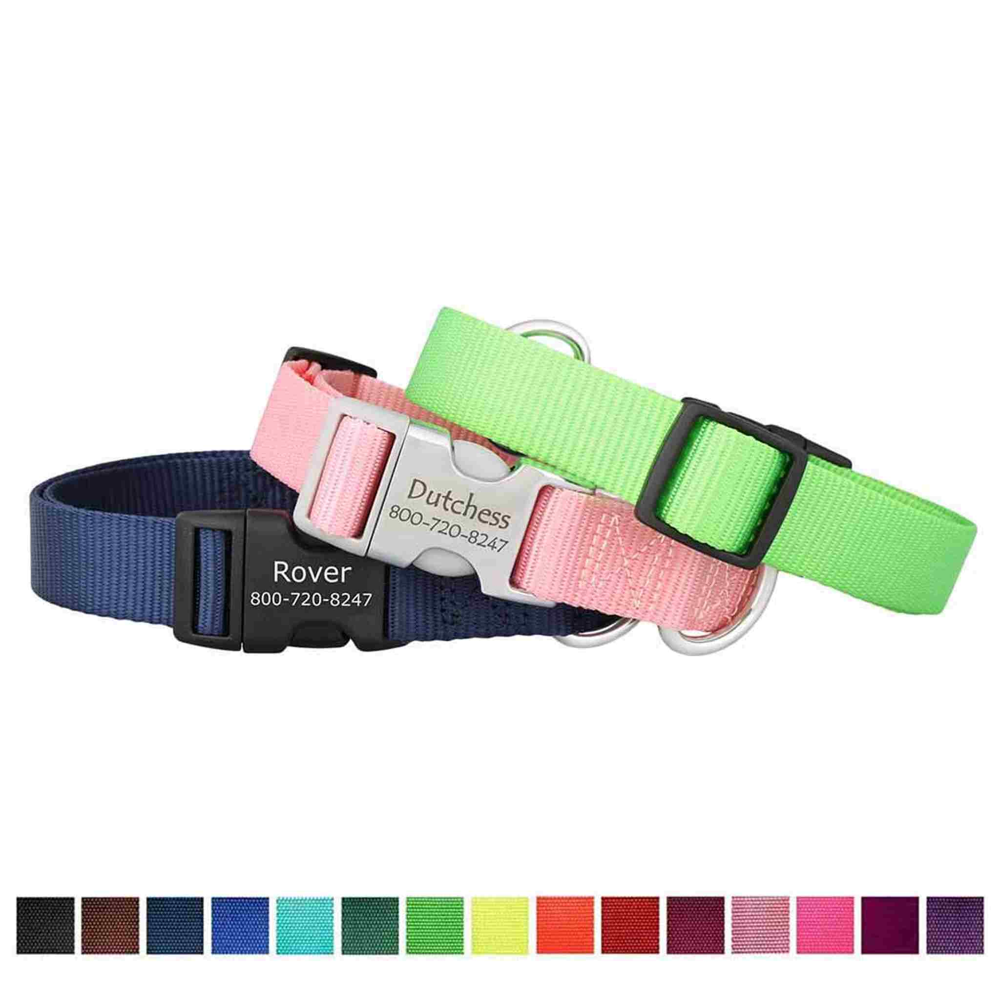 dog collars with names on clip