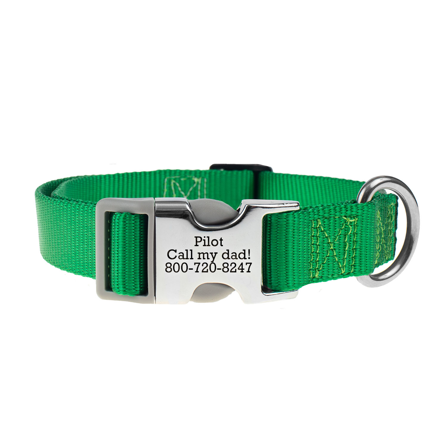 Personalized Buckle Nylon Dog Collar Kelly Green
