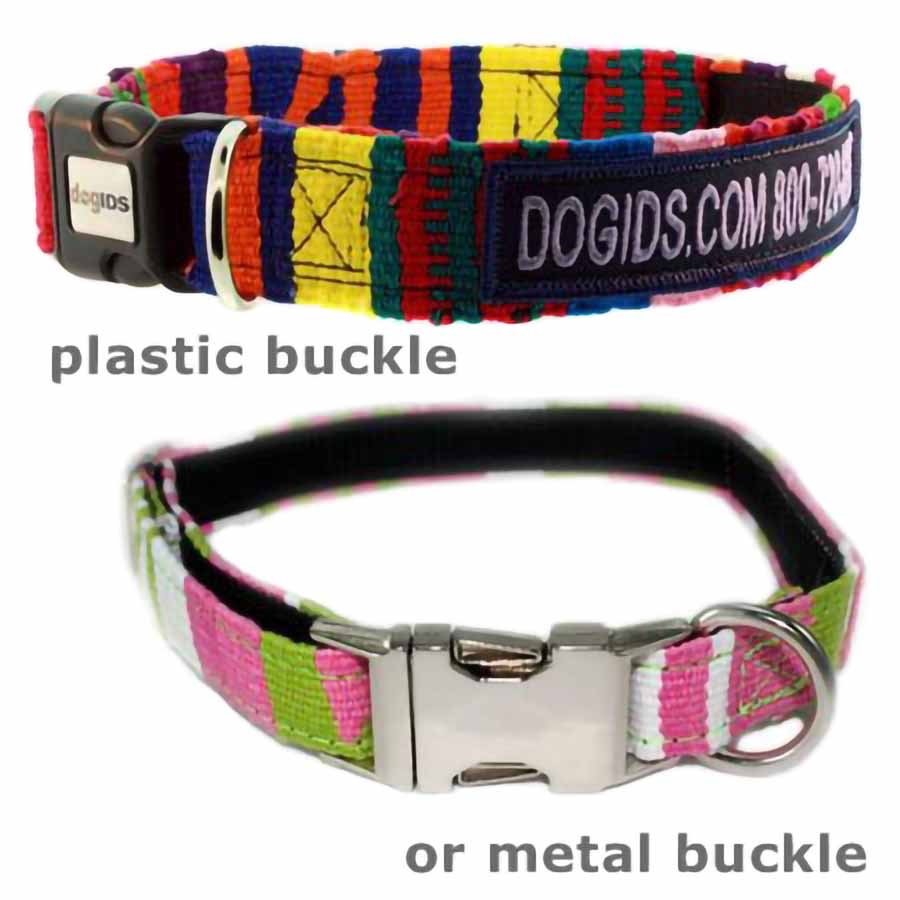 Embroidered Maya Personalized Dog Collar Buckles