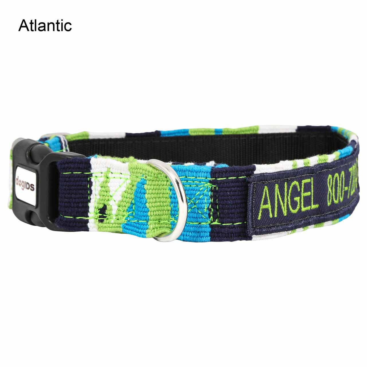 Embroidered Maya Personalized Dog Collar Atlantic