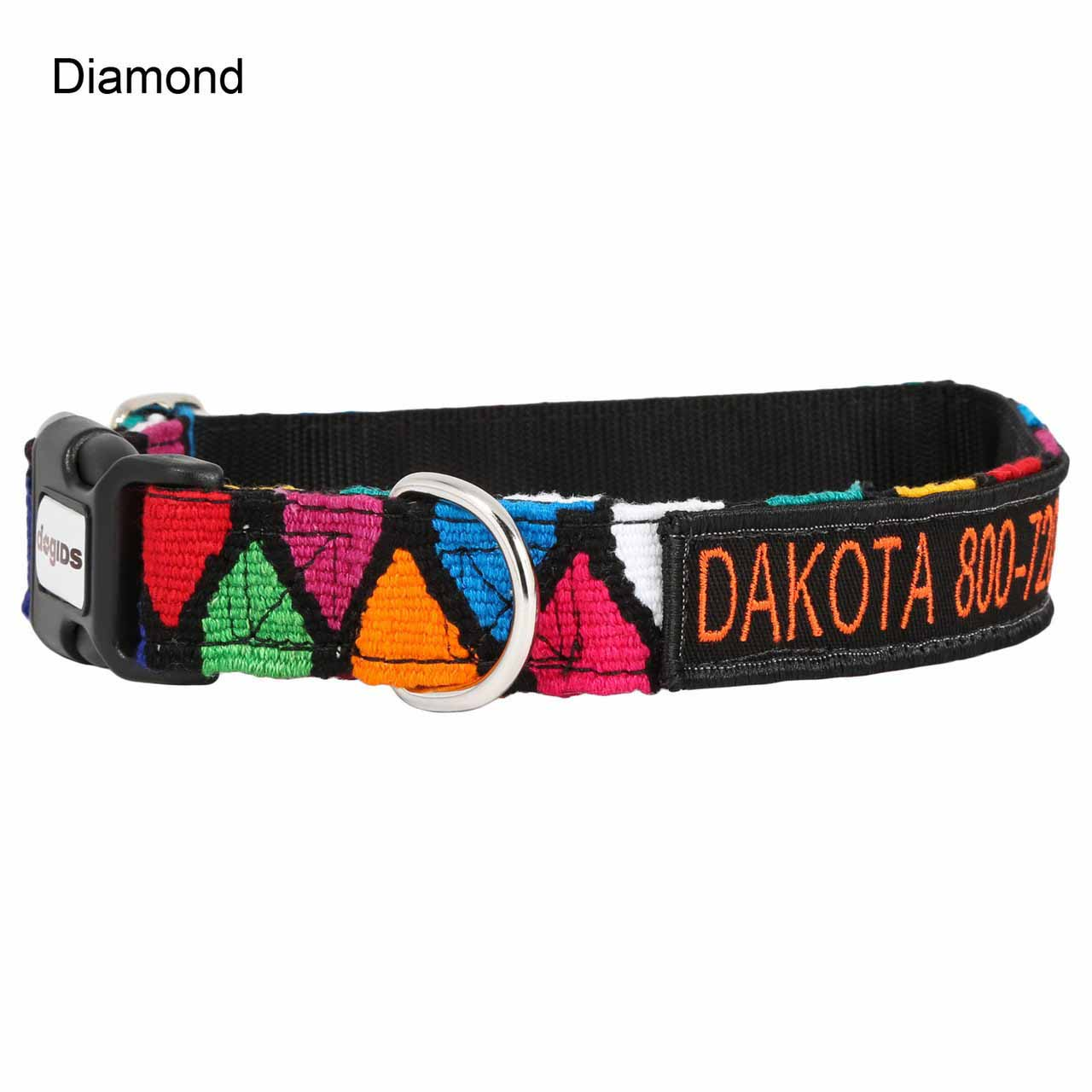 Embroidered Maya Personalized Dog Collar Diamond