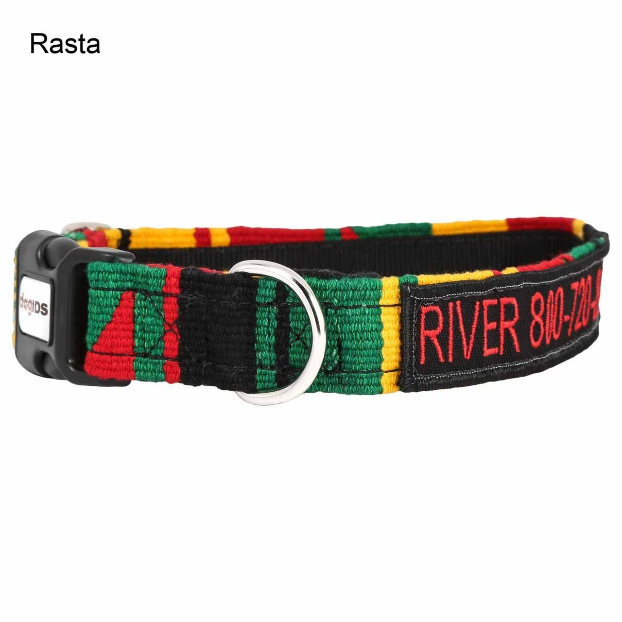 Embroidered Maya Personalized Dog Collar Rasta