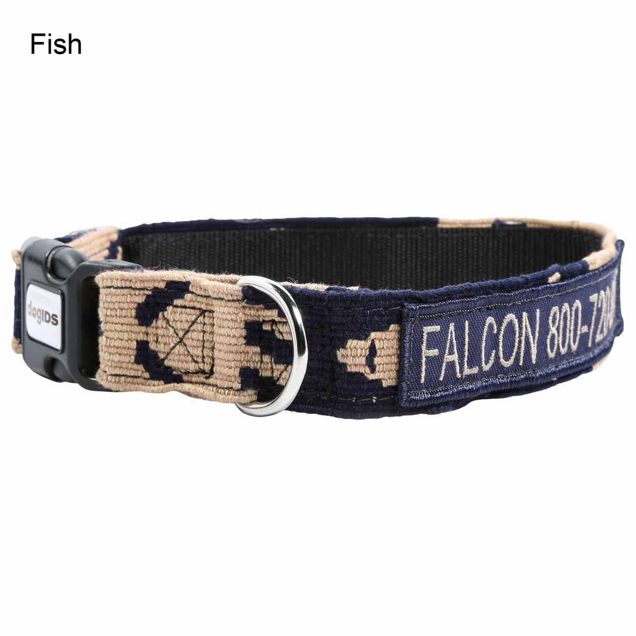 Embroidered Maya Personalized Dog Collar Fish