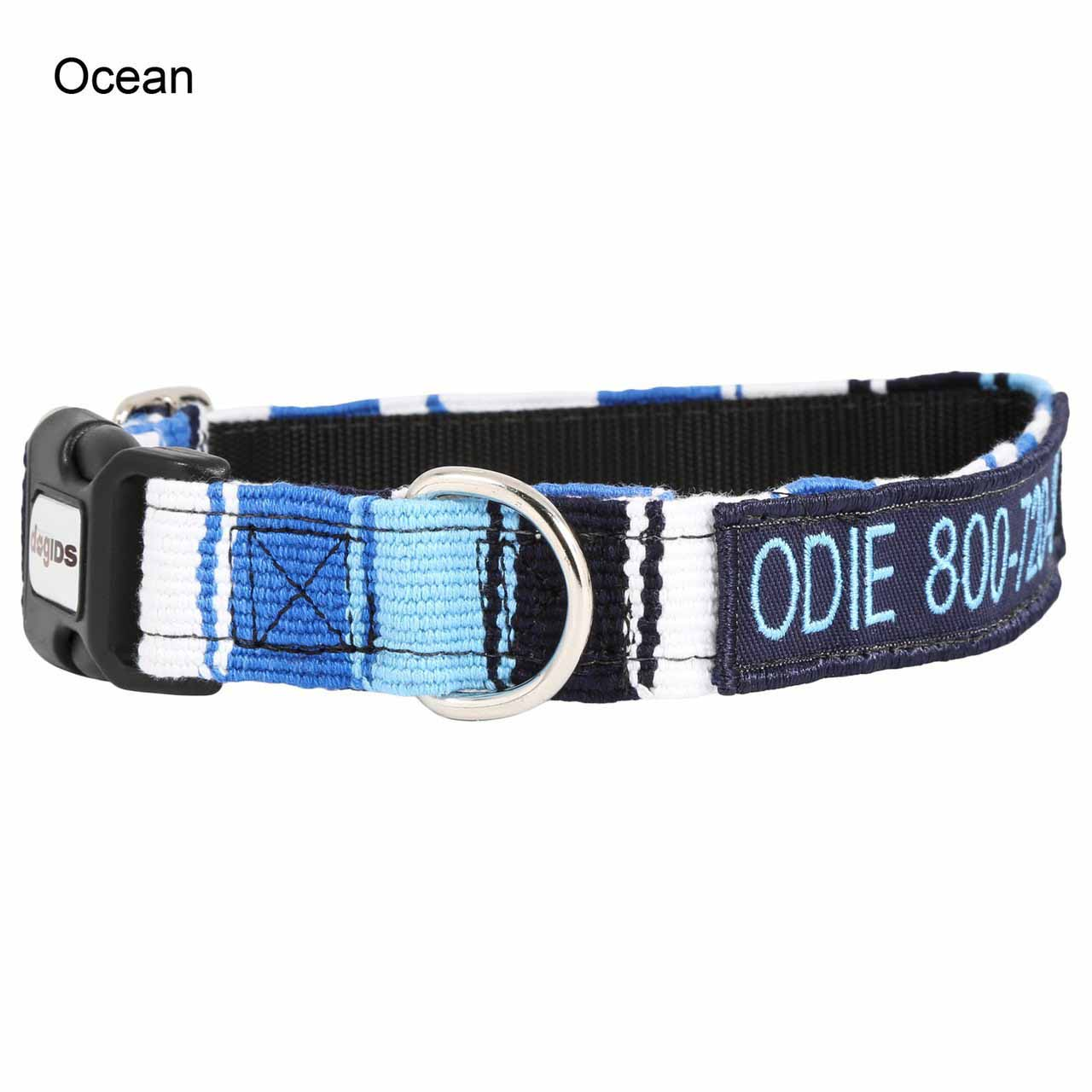 Embroidered Maya Personalized Dog Collar Ocean