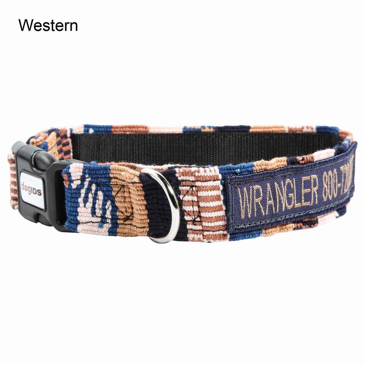Embroidered Maya Personalized Dog Collar Western
