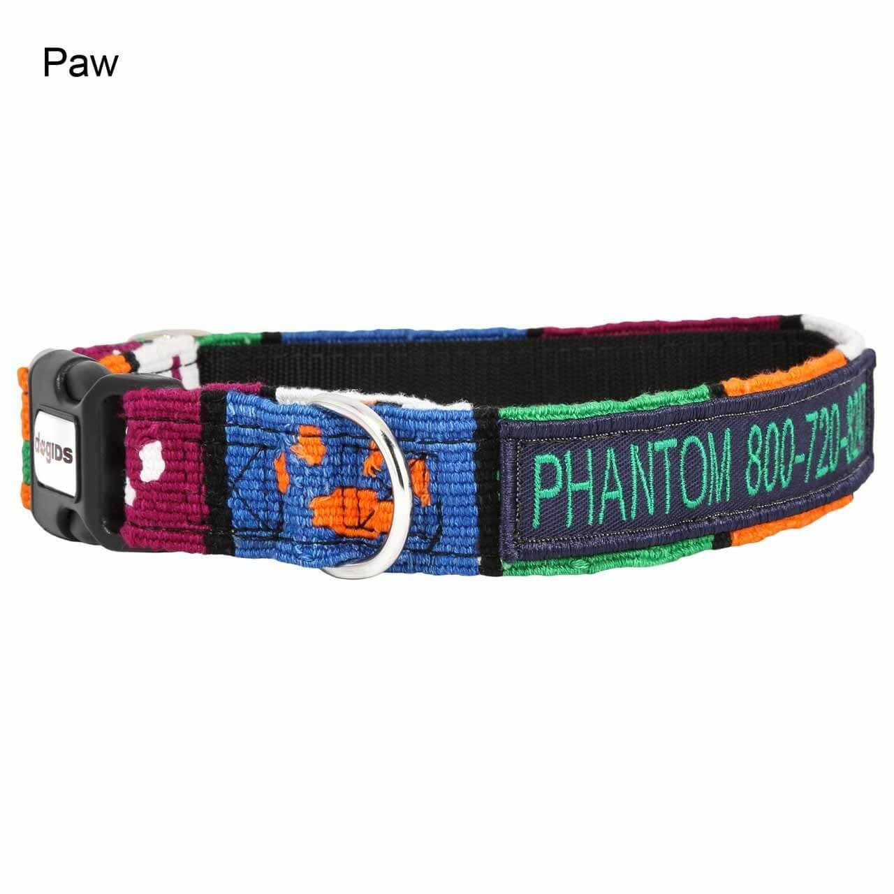Embroidered Maya Personalized Dog Collar Paw