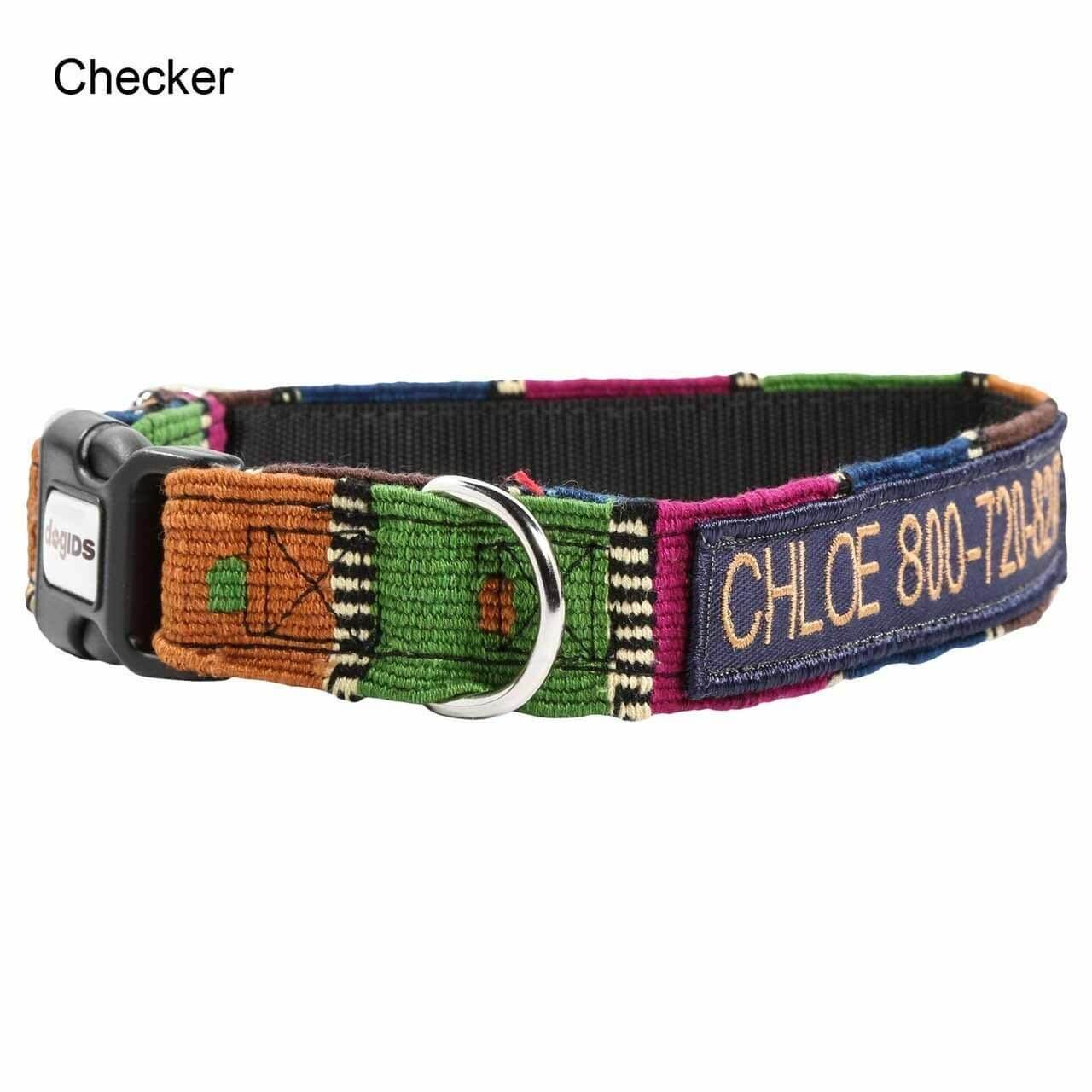 Embroidered Maya Personalized Dog Collar Checker