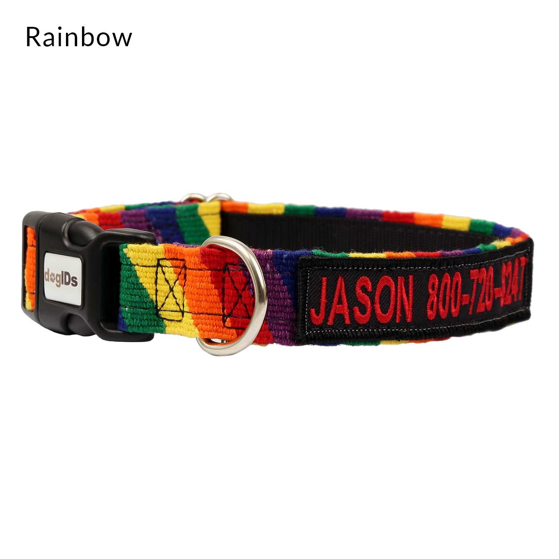 Embroidered Maya Personalized Dog Collar Rainbow