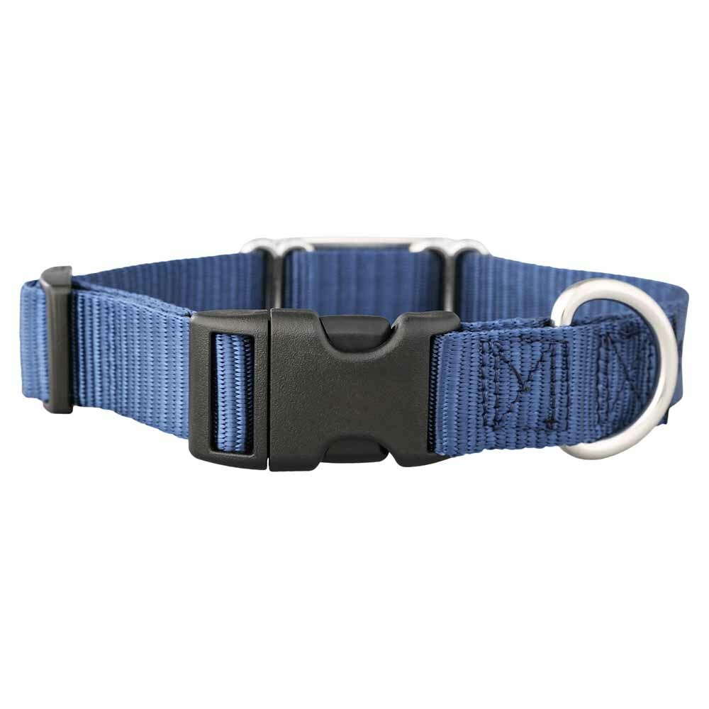 Nylon ScruffTag Personalized Dog Collar Navy Blue Buckle View