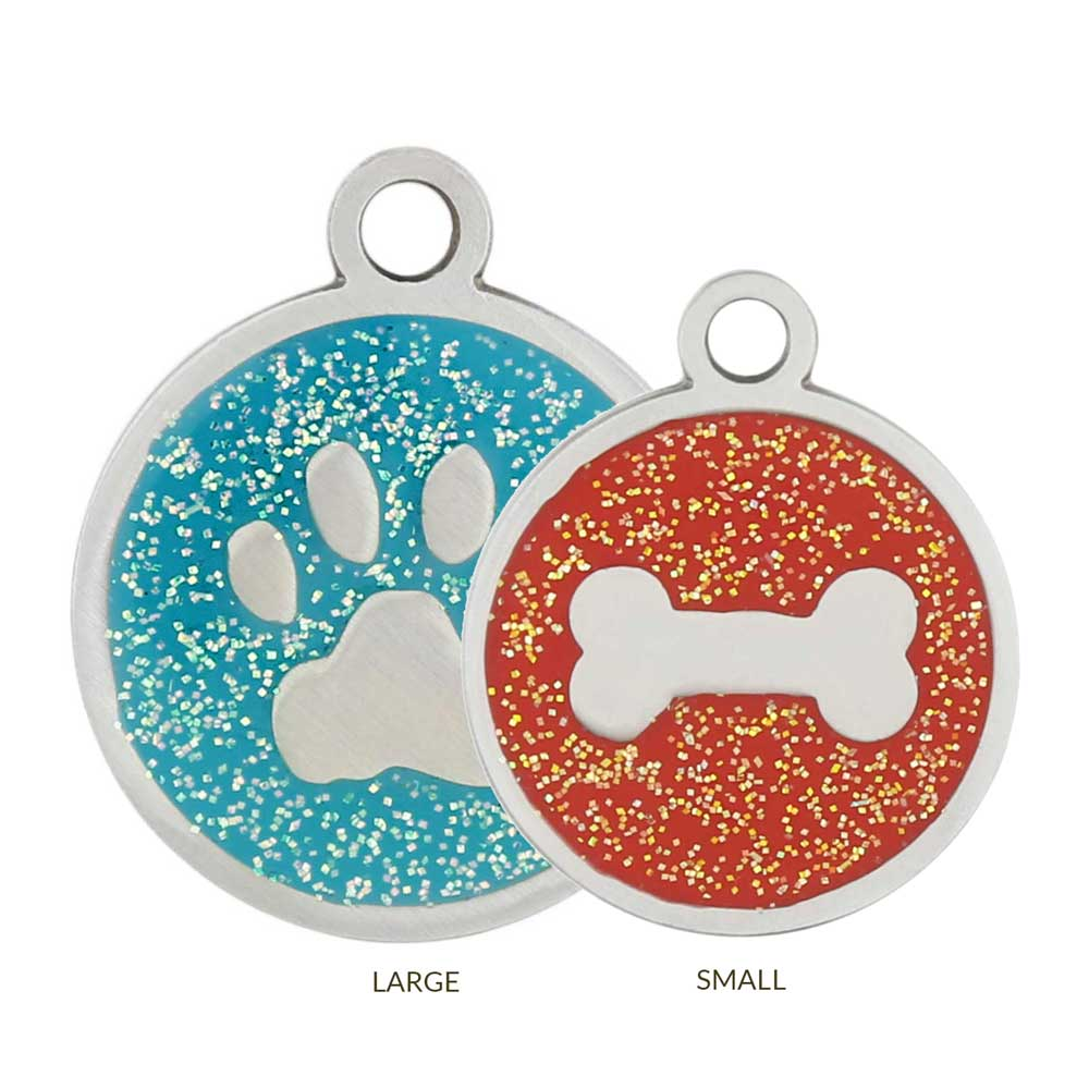 Glitter Enamel Stainless Steel Dog ID Tags Sizes