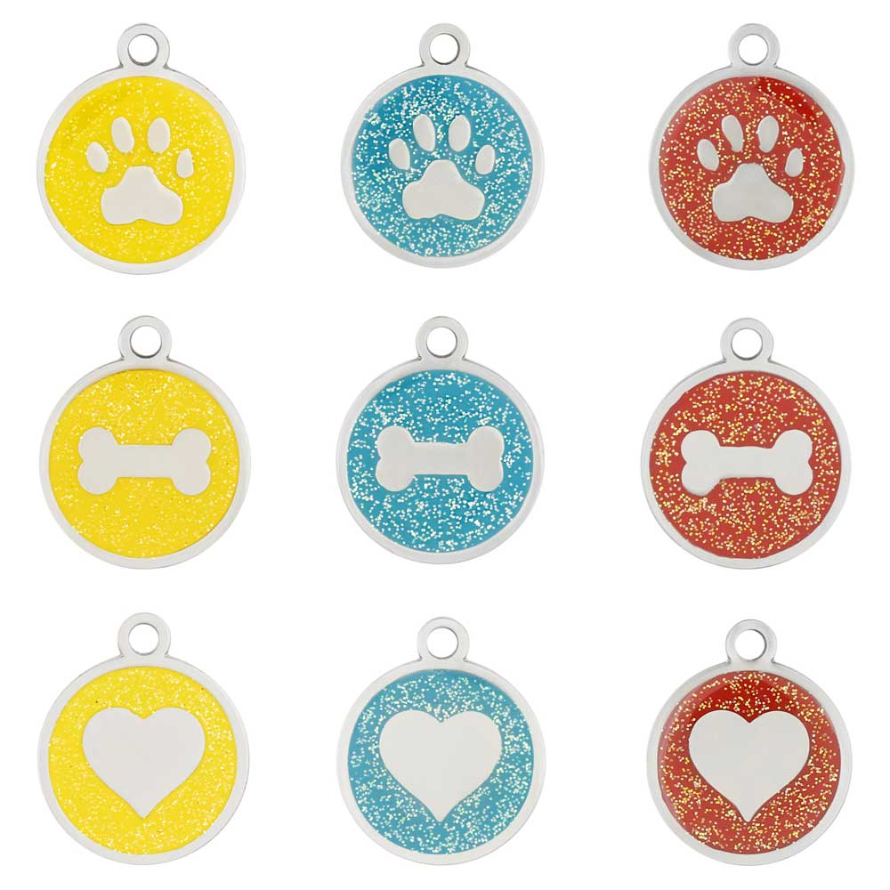 Glitter Enamel Stainless Steel Dog ID Tags
