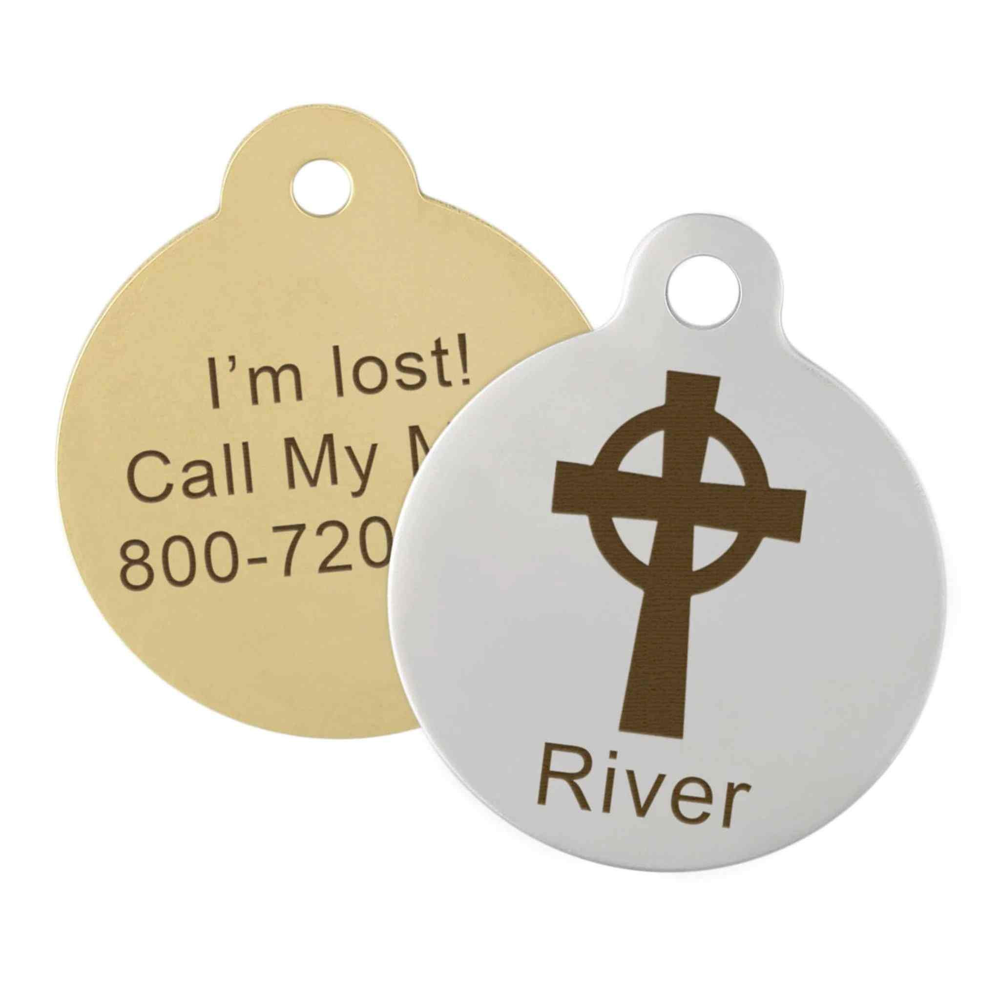 gold and silver circle missing dog tag