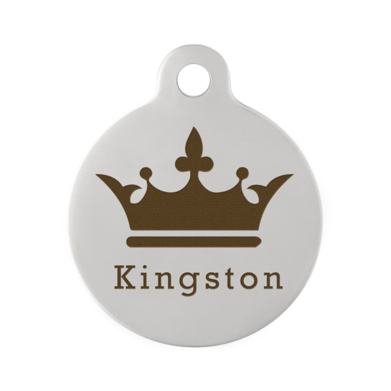 Crown Dog ID Tag - Front on Stainless Steel