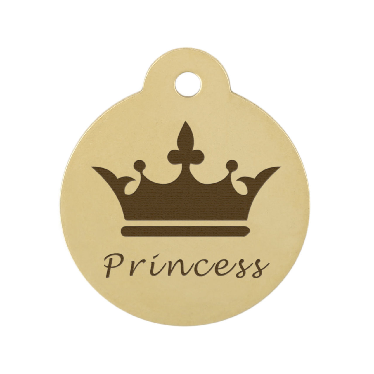 Crown Dog ID Tag - Front On Brass