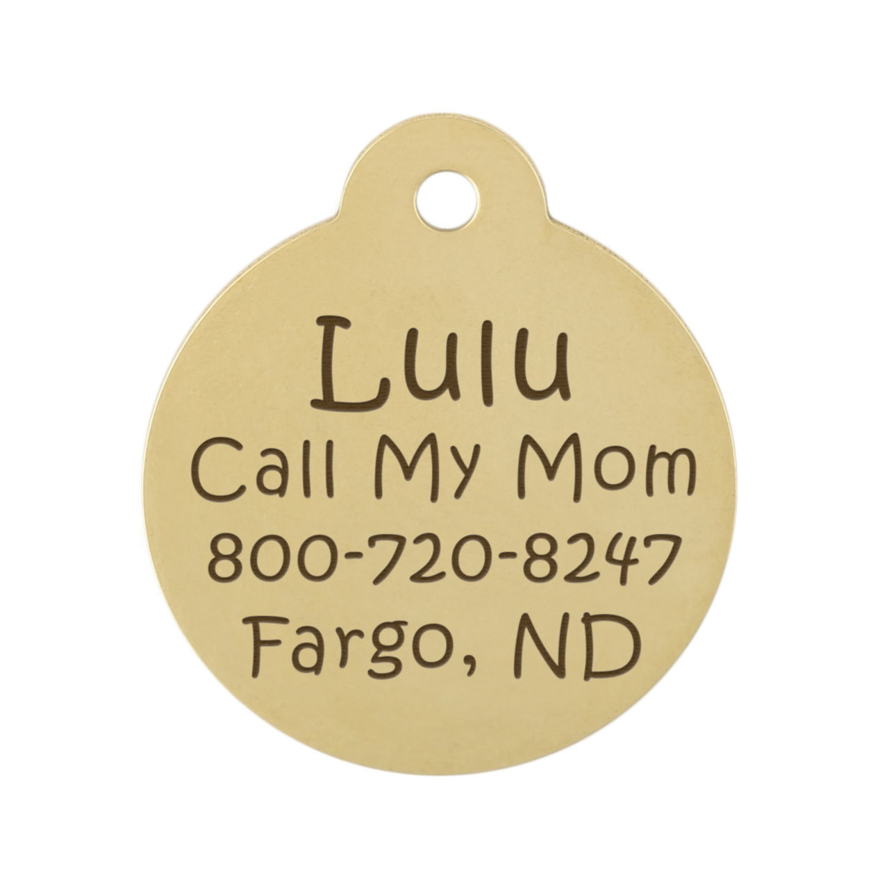 Heraldic Lion Dog ID Tag - Brass Backside of Tag