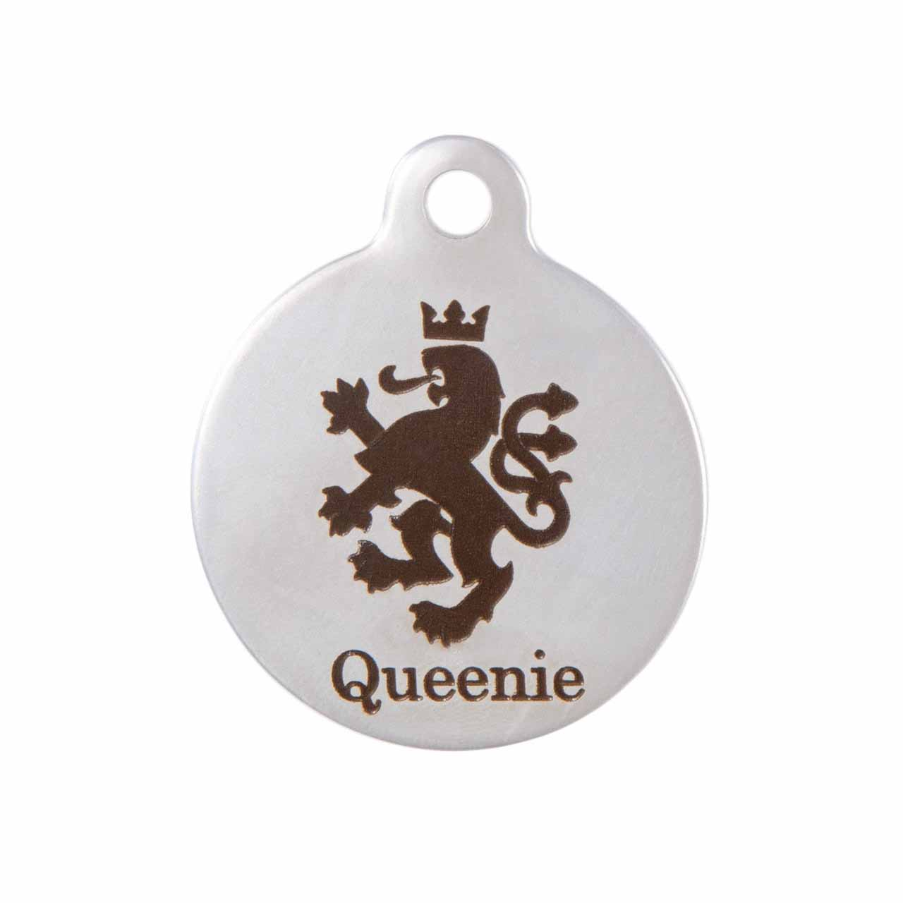 Heraldic Lion Dog ID Tag Stainless Steel Front