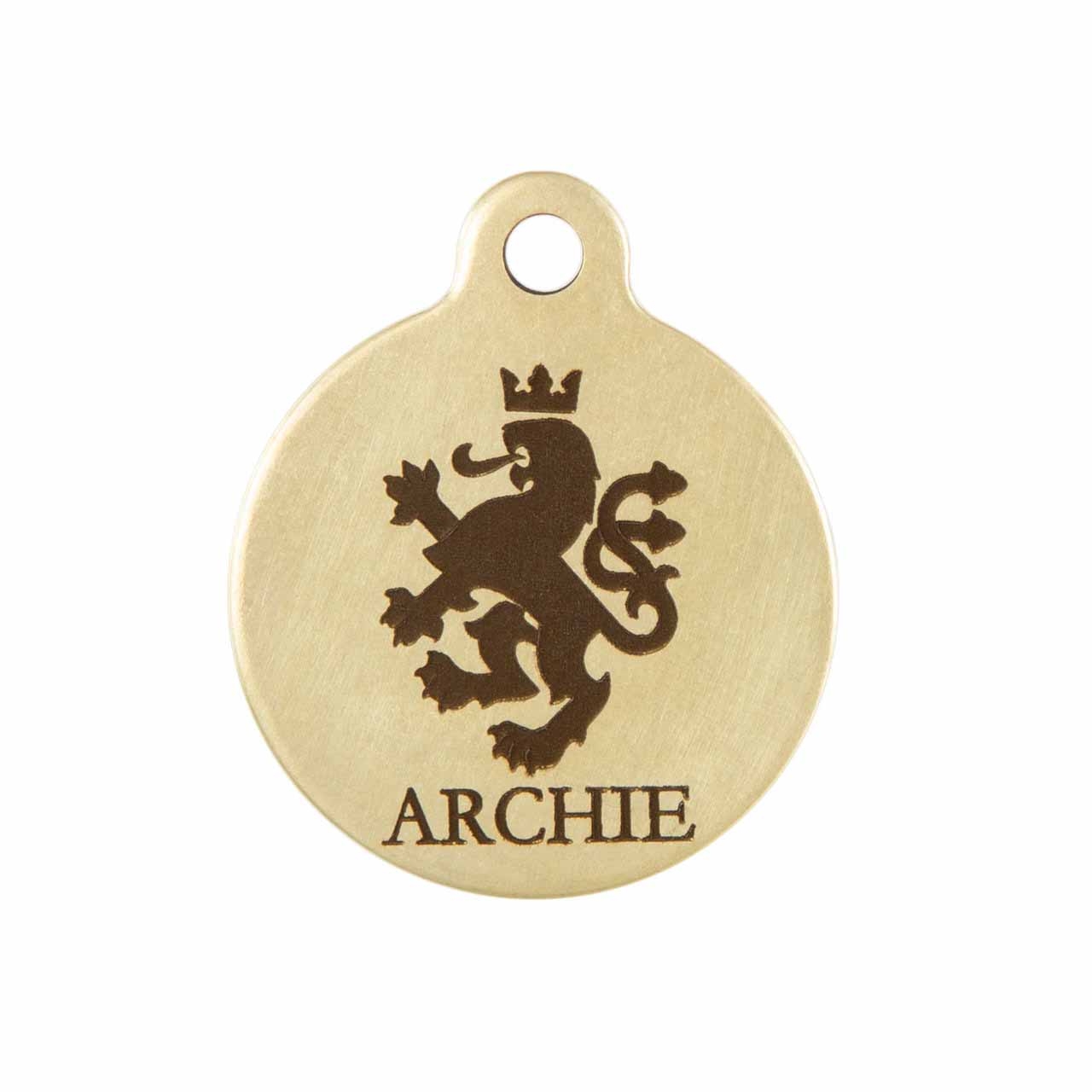 Heraldic Lion Dog ID Tag Brass Front