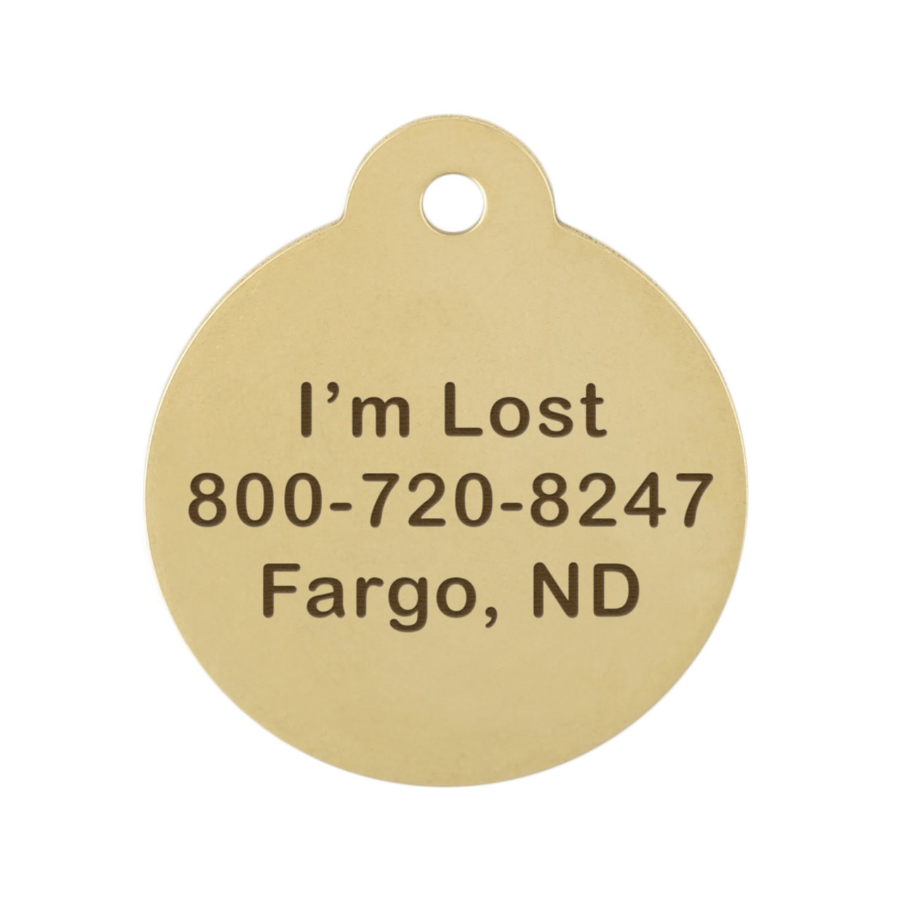 Peace Sign Dog ID Tag Brass Back Tag