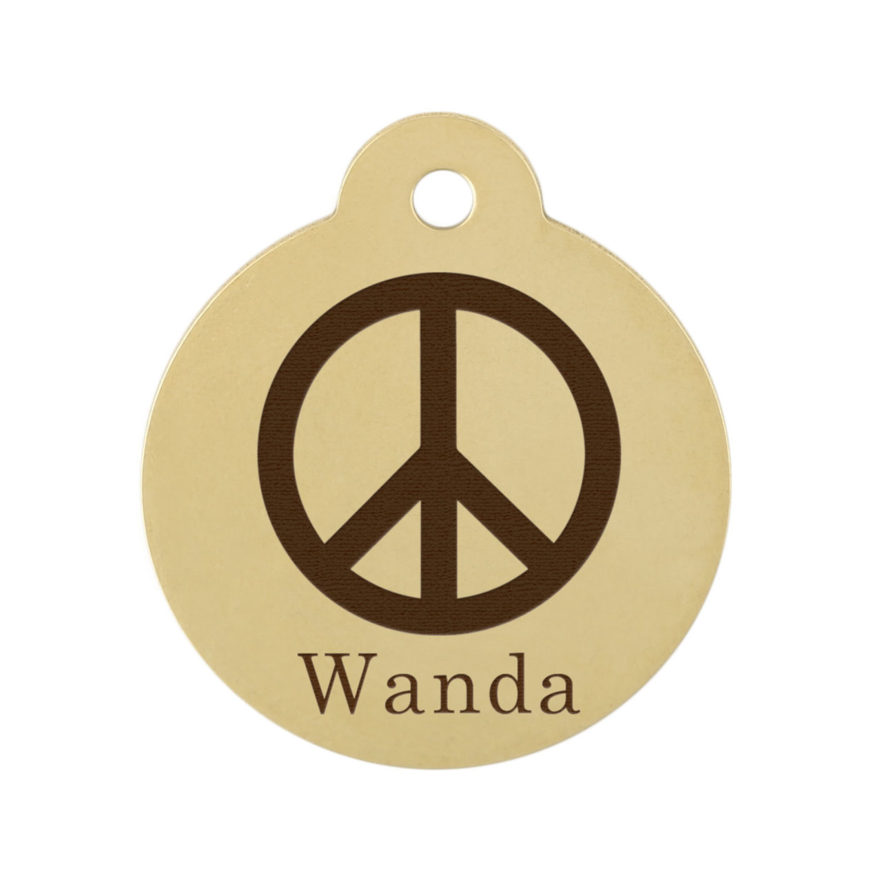 Peace Sign Dog ID Tag Brass