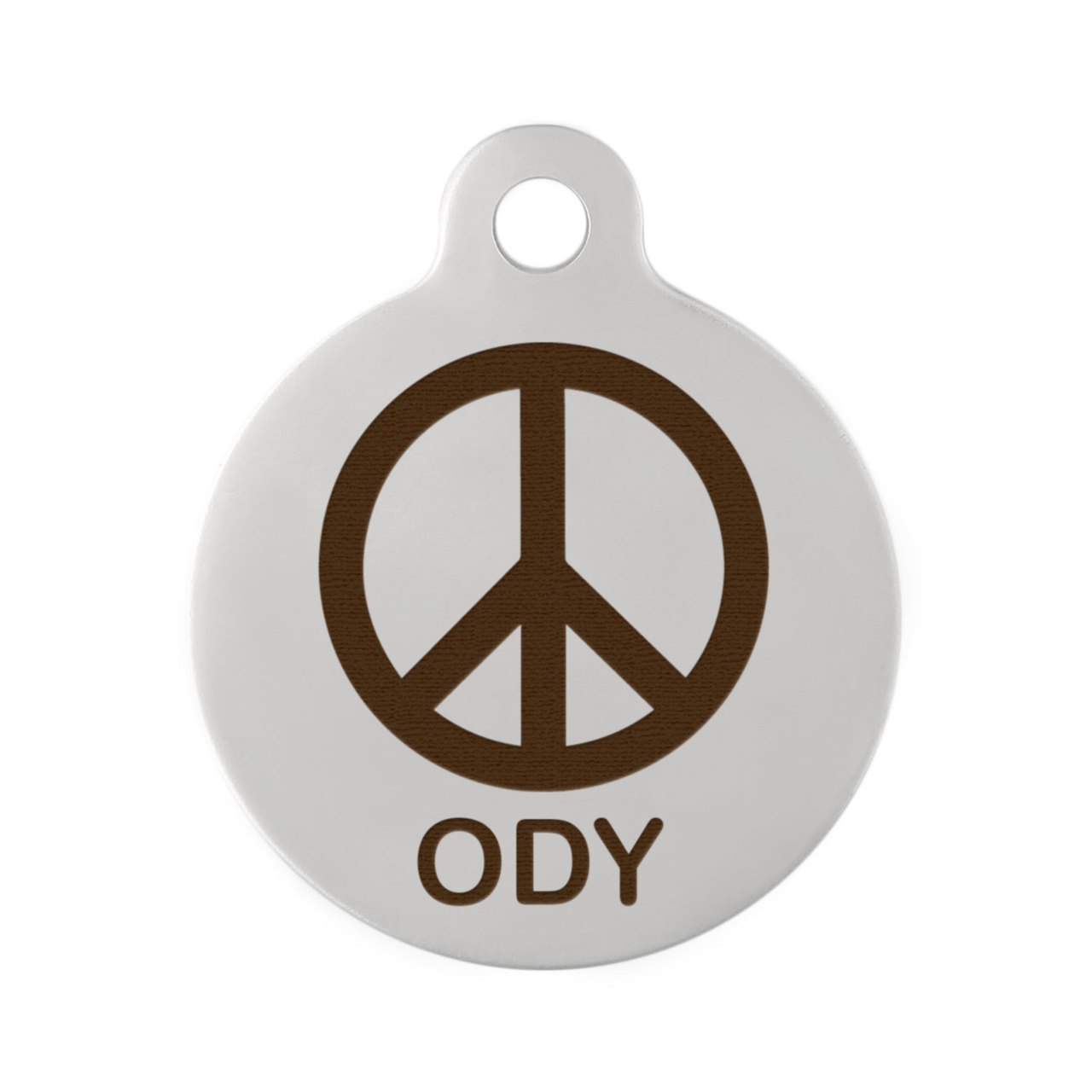 Peace Sign Dog ID Tag Stainless Steel